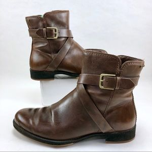 ECCO Women's Brown Leather Chelsea Boots Ankle Zip